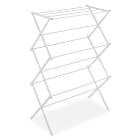 White Folding Laundry Dryer Clothes Drying Rack - Sturdy Steel Desig, WFCDR23971 :  Get fresh-smelling clothes and save on energy costs at the same time with this White Folding Laundry Dryer Clothes Drying Rack - Sturdy Steel Design. Easy to use indoors or out, the rack is great for hanging dedicates, draping denim, and laying out woolens. Its accordion design drops open and locks into position, and its eleven bars offer a generous amount of linear drying space in a small footprint. Made from steel for durability, the piece is coated with a waterproof epoxy layer in white to eliminate stain-absorption, odors, and mildew. When collapsed, the piece stores flat and slips easily beside a washing machine, in a closet, or behind a door. Ready to use immediately, it stands 14-1/2 by 29-1/2 by 41-3/4 inches when open. A similar version in chrome is also available.