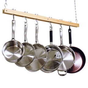 This Ceiling Mount Single Bar Wooden Pot Rack with 4 Pan Hooks would be a great addition to your home. It has a ceiling mount wooden Pot Rack length 36-inch single bar style, 4 Pan hooks and 2 Swivel Hooks, made of solid cast aluminum, also bracket is made of solid aluminum, which is very strong, Pot Rack provide modern style for your kitchen.