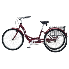 Black Cherry Single Speed Adult 3-Wheel Cruiser Bike Tricycle with Basket, SMST658451 :  Cruise around in comfort and style with this Black Cherry Single Speed Adult 3-Wheel Cruiser Bike Tricycle with Basket. The bike features a low step-through frame, an upright handlebar, padded cruiser saddle, and front and rear brakes. Perfect for rides around town or through the park on a warm, sunny day, the bike features a folding rear basket to stash your picnic lunch or extra jacket. The Meridian also offers a lightweight aluminum frame for a comfortable and stable ride.