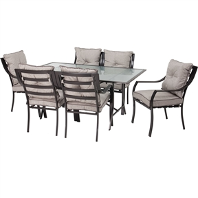 7-Piece Outdoor Patio Furniture Metal Dining Set with Cushions, H418418654 :  This 7-Piece Outdoor Patio Furniture Metal Dining Set with Cushions includes a glass topped table and six comfortable chairs, complete with cushions. This set was designed to mix contemporary design with classic comfort – thus, while it looks incredibly modern and stylish, it also features soft and squishy cushions designed for maximum comfort. Both the table and chair frames are constructed of rust-resistant, heavy-duty steel and have been powder coated to increase their life spans. Plus, all pieces are easy to put together and will provide years of care free maintenance and enjoyment. Contemporary-styled glass top table; Comfortable, easy-clean, all-weather cushions for seat and back of each chair.