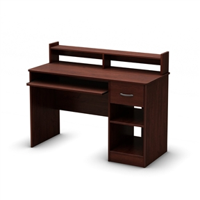 This Eco-Friendly Computer Desk Table in Cherry - Great for Kids Teens Adults is the perfect answer to organizing clutter in your child's room. It features a compact design yet includes space for everything needed for schoolwork and projects. A low hutch offers shelving for books or keepsakes and the desktop, plenty of room to spread out homework or a house laptop. Under it, you will find a keyboard tray, one practical drawer with a silver finish metal handles and a storage compartment divided by an adjustable shelf. For complete interior dimensions see spec sheet. Also available in pure back, pure white or chocolate finish. The back is not laminated and the accessories are not included.