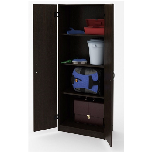 Keep your stuff concealed in this Black Wood Wardrobe Armoire Storage Cabinet. Perfect in any room that needs more storage space, the cabinet offers ample room for large and small items. Its sleek Black Forest finish makes it a stylish addition to any space, in the home or at the office. Use the storage cabinet as a pantry for hiding cereals, canned goods, snacks and other kitchen items. Place it in family rooms and rec rooms to organize games, movies, toys and more. In the office, it makes a great place to store supplies, reams of paper, printer ink cartridges and other items.