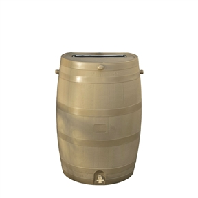 50-Gallon Tan Plastic Rain Barrel with Brass Spigot, RT10259RB : This 50-Gallon Tan Plastic Rain Barrel with Brass Spigot would be a great addition to your home. Embrace nature's solution to our emerging water shortage--collect rainwater! When drought sets in and rain is short, rain barrels can provide that precious water you need for your lawn and garden. Our authentic oak barrel texture is molded into each barrel and will not fade, rot or risk insect infestation. The RTS Accents rain barrel has many unique features including a flat back to sit flush against a wall, linkable to other rain barrels for increased capacity, screen to keep out debris and insects, and a shut off valve for hose hook up with dual overflow. This rain barrel can provide up to 50 gallons of pure unchlorinated water. During heavy rain falls, a typical roof can produce hundreds of gallons of water and by saving that water, you can reduce your average water usage. With those kinds of savings, this rain barrel can pay for itself in just a few seasons. A front side overflow keeps water from flooding against your outside wall. It is recommended that you drain your barrels when temperatures approach the freezing point. Optional barrel stands create a larger offset between the spigot and the ground, making it easier to fill watering cans and for general use. Tan. Save water and money by capturing rainwater to use for your lawn and garden; Optional stand to make filling watering cans easier (sold separately); Designed to be child and pet safe with no large openings.