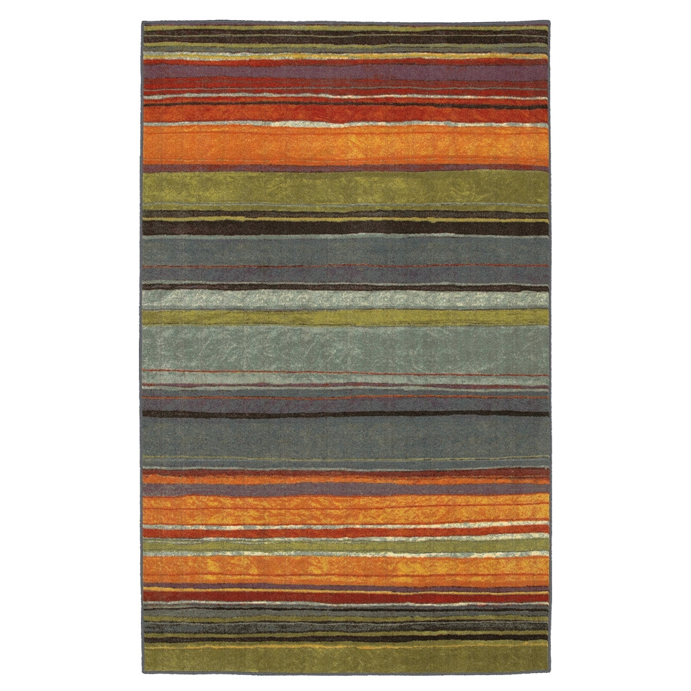 5' x 8' Rainbow Stripes Area Rug with Orange Blue Green Red Purple, SRAR902992 :  A carnival of color this 5' x 8' Rainbow Stripes Area Rug with Orange Blue Green Red Purple is fresh and fun. A best seller for its bright and bold colors. Printed on the same machines that manufacture one of the world's leading brands of printed carpet, this rug is extremely durable and vibrant. This technology allows the use of multiple colors to create a rug that is wonderfully designed and applicable to any room in your home. Crafted completely in the USA, this rug is made from durable stain resistant nylon. Area rugs should be spot cleaned with a solution of mild detergent and water or cleaned professionally. Regular vacuuming helps rugs remain attractive and serviceable. Construction: Machine made; Material Details: Nylon; CRI Certified: Yes; Product Warranty: 1 year limited manufacturing defects warranty.