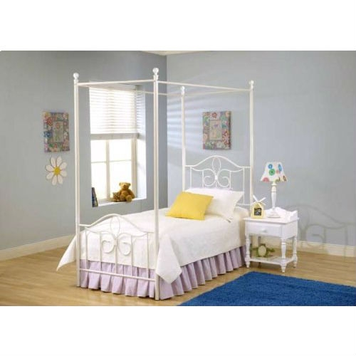 Twin size Metal Canopy Bed in Off White - Great for Kids: Product Code: HCWBT249 : This Twin size Metal Canopy Bed in Off White - Great for Kids boasts a charming arched design, sweet scrollwork and a canopy option to create your daughter's dream bedroom. features a traditional curved headboard, bead board details and lovely sculpted feet. finished in a perfectly charming white, this bed is a refreshing and cheerful addition to your child's bedroom. constructed from a sturdy heavy gauge tubular steel. some assembly required. inspired by classic cottage styling and perfect for a little girl's room. available in off white color and twin size. set includes headboard, footboard and canopy. headboard measures 48-inch height by 39-inch width. footboard measures 29-inch height by 39-inch width and canopy measures 83-inch height.