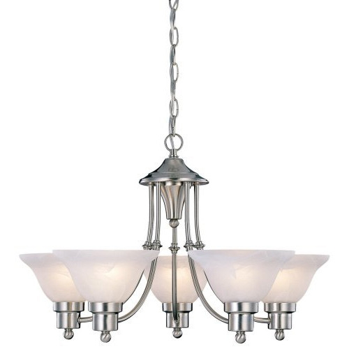 Enhance your decor with this beautiful 5-Light Brushed Nickel Chandelier with White Frosted Shades. The alabaster glass in this chandelier brings a cozy warmth to any room. Five 60-watt bulbs are required. These are not included with the chandelier. This Chandelier installs like the others in the line-up. The Chandelier comes with a bracket to mount into the ceiling box(not included) and is hard wired in.It also has a trim plate that matches the light fixture to cover the ceiling box. Assembled Height 15 inches; Assembled Length 24 inches; Assembled Width 24 inches; Style Art Deco; Collection Bristol.