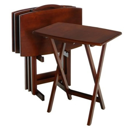 This Set of 4 Solid Wood TV Tray Coffee Tables with Storage Rack in Walnut would be a great addition to your home.With Sturdy wooden legs.These tables are oversized to offer extra dining or working surface. Warm walnut finish.