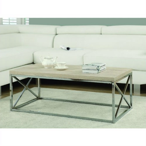 To have or not to have just isn't an option! This Contemporary Chrome Metal Coffee Table with Natural Finish Wood Top offers individuals a simple yet favorable way for placing drinks, snacks or meals while watching TV or chatting on the sofa. Its fashionable curved chrome metal base and dark taupe reclaimed wood-look top provide exceptional support to this must-have piece!
