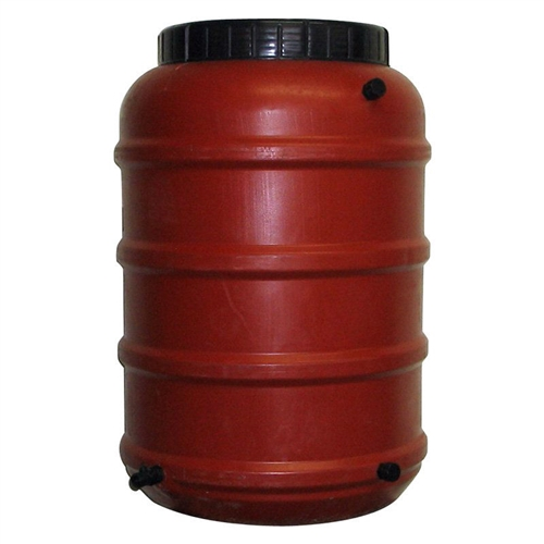 50-Gallon Terra-Cotta Red HDPE Food Grade Plastic Rain Barrel, UTRB561815 :  Water running off your house is as good as money down the drain. Start saving your hard-earned cash by placing an 50-Gallon Terra-Cotta Red HDPE Food Grade Plastic Rain Barrel under your downspout. Crafted from a pre-used food-grade Poly Ethylene barrel, this barrel features a spigot with multiple attachment capabilities and can be linked to other barrels. It's ready to handle overflow and the lid has holes drilled to let water pass through the protective screen.  Screen keeps bugs and debris out of your water; Features a garden hose size spigot at bottom of barrel; If ordering more than one, all efforts will be made to match products; We cannot guarantee they will be identical; 50 gallon capacity; Spigot accommodates a garden hose, landscape tubing or drip tubing; Place barrel on a pedestal and there's room for a watering can; Overflow fitting diverts excess water away from barrel; Linking hose fitting lets you join up to 2 more barrels together; Barrel was previously used to ship pickled food overseas; Barrel was cleaned and rinsed with rain water and PH neutral soap; Material Plastic.