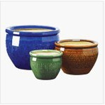 3 Piece Ceramic Planter Set in Azure Topaz and Peridot, CPS3347 :  Bring a burst of color to your garden! These 3 Piece Ceramic Planter Set in Azure Topaz and Peridot are sumptuous in shades of azure, topaz and peridot. Set includes three separate sizes to hold a variety of your favorite greenery! Drain hole at bottom of each pot. Ceramic. Large: 12 inches diameter x 8 1/2 inches high; Medium: 9 inches diameter x 6 1/2 inches high; Small: 6 1/2 inches diameter x 5 1/4 inches high.