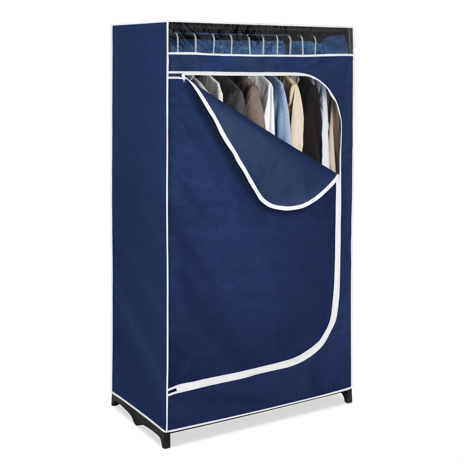 This Portable Clothes Closet Wardrobe in Blue Breathable Fabric features a breathable fabric cover with an easy access zipper and a see-through window. It is made with a durable 36 inch frame and is perfect for your extra clothes storage needs. Use in a spare room, garage, attic or anywhere in your home or office.