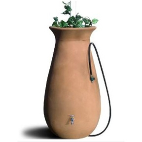 65-Gallon Urn Style Rain Barrel in Terra Cotta, AC65GTC17654 :  This 65-Gallon Urn Style Rain Barrel in Terra Cotta combines the timeless aesthetic elegance of ceramics with the enduring durability of modern plastics. This 65-gallon rainsaver is constructed from tough, roto molded plastic able to withstand extreme temperatures and will not chip, fade, or crack over time. The rain barrel comes with a 6-foot garden hose with shutoff nozzle, corrosion-proof screen guard, brass spigot, and easily removable crown planter on top. It's double-walled for supreme strength. The hose hangs neatly on the attached hook. The rain barrel measures 24 x 46 inches.