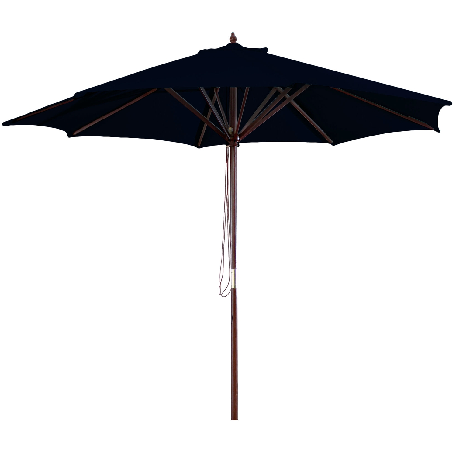 9-FT Market / Patio Umbrella with Black Canopy, J9WU43099:  This 9-FT Market / Patio Umbrella with Black Canopy would be a great addition to your home. We recommend to take inside during extreme weather to avoid damage. To clean use a mild soap and water solution. Not intended for Commercial Use, only warrantied for 500 hours of direct sunlight for commercial use. Maintenance free.