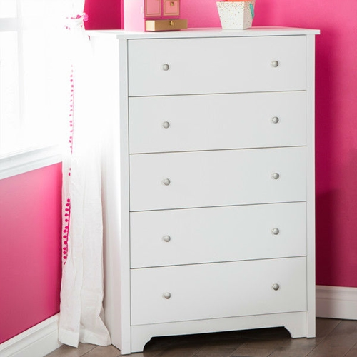 This Classic 5-Drawer Bedroom Chest of Drawers in White Wood Finish incorporates style and utility in a striking fashion that is hard to miss. The classic traditional appeal of this chest sits well with all types of home interiors and has a natural aura that blends beautifully with any surrounding. Sporting a unique nickel finish, this chest is made from 100% recycled wood. This drawer chest is an exquisite combination of design with functionality. This Classic 5-Drawer Bedroom Chest of Drawers in White Wood Finish features 5 deep drawers and each drawer is equipped with 2 knobs for a firm grip. The Smart Glide technology lets you open and shut them with ease. It features panels that are Environment Preferred Product (EPP) certified. Metal knobs with a nickel finish; 5 Years limited warranty; Frame Material: Manufactured wood; Storage Function: Clothing; Frame Material: Manufactured wood; Frame Material Details: Laminated particle board; Product Type: Standard chest (vertical). Drawer Interior Finish: Beige; Drawer Glide Material: Plastic; Drawer Glide Extension: 0.75 extension; Joinery Type: Butt; Drawer Handle Design: Knobs. Hardware Finish: Nickel finish handles; Country of Manufacture: Canada; Eco-Friendly: Yes