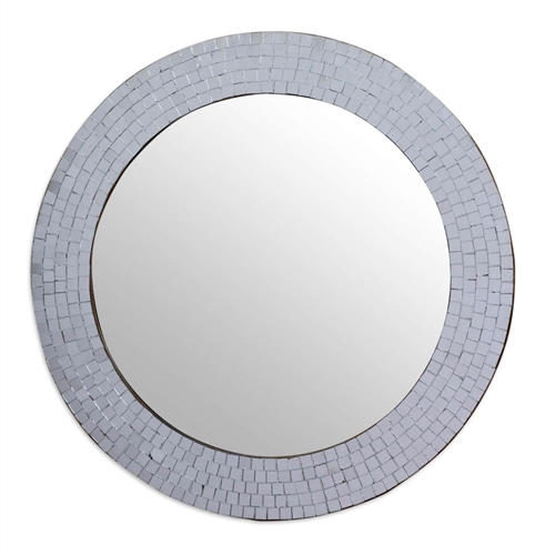 This Modern Round Circular Bathroom Wall Mirror with Mosaic Glass Silver Frame has a glass mosaic in glittering silver creates a halo of glamour. Placed by hand, the tiles that surround a wall mirror from Kamal in India.. Hand-crafted item -- color, size and/or motif may vary slightly