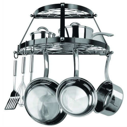 This Black Metal Wall Mount 2-Shelf Kitchen Pot Rack - Holds up to 30 lbs can be used to easily store cookware and tools. Accommodates all kitchens. Includes complete installation hardware and instructions. Does not include cookware. Includes 8 Pot Rack hooks