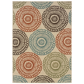 "7'10"" x 10'10"" Indoor / Outdoor Beige Area Rug with Colorful Circle Pattern, MWIBOR710249 :  Colorful and peppy, this 7'10"" x 10'10"" Indoor / Outdoor Beige Area Rug with Colorful Circle Pattern is the perfect pick for year-round display. An overall stylish and chic look makes this rug an instant attention grabber. This rug has beige as its primary color. Tough and versatile, this rug is great for both indoor and outdoor use. As this rug is made from 100% polypropylene, it is durable and sturdy. Machine weaving further adds to the durability of this carpet. So that it can be used on your porch as well, this rug is soil, stain, and mildew resistant. Not only that, this rug can even repel water instantly. What's more, this rug is fade resistant, so it looks new and fresh for years. This stylish rug can be easily cleaned by spraying it with a hose and air drying it. As this rug comes without a backing, it should be used with a separate rug pad. The pad will not only prevent the rug from skidding, but also extend its lifespan. Also, using a pad will save your floor from discoloration. You can pick this rug in a variety of shapes and sizes as per your styling needs. Product Care: Vacuum regularly, spot clean as necessary, and professionally clean when heavily soiled. Technique: Hand woven; Primary Pattern: Floral and plants; Type of Backing: None; Material: Synthetic Rug."