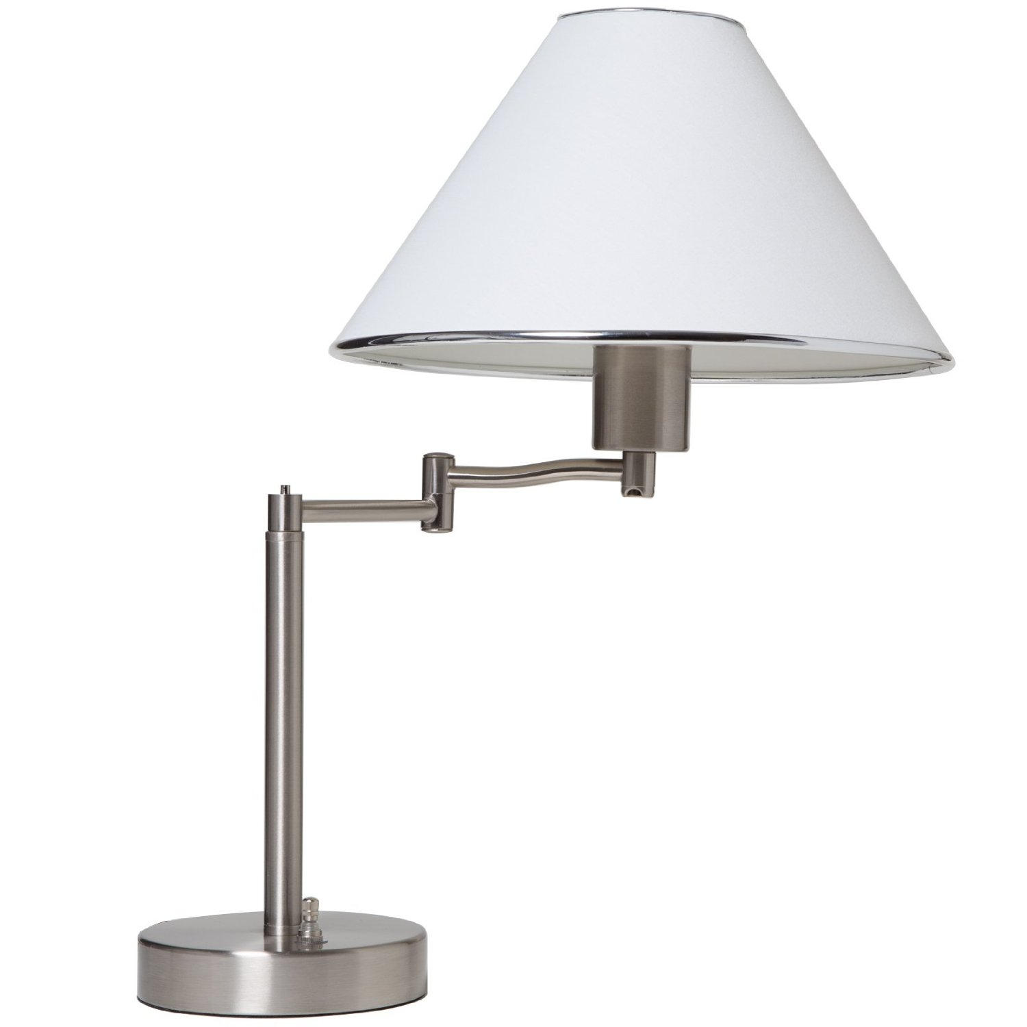 """This Sing Arm Table Lamp in Brushed Nickel and White Fabric Shade is a great way to provide light at your desk. Lamp is finished in satin nickel and has a white fabric shade with trim. With the swinging arm, the lamp can provide light wherever you need it and can be adjusted to an overall height of 18-1/2"""". Uses a 60 watt maximum A-19 bulb (sold separately)."""
