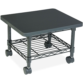 The space saving Under-Desk Printer/Fax Stand is complete with a steel frame and laminate top that provide ample space for most printers and fax machines. The printer stand simply slides under a desk when not in use-great for the cubicle or home office. The sturdy steel wire shelf is ideal for storing extra paper or supplies. Mobile on four swivel casters (2 locking).