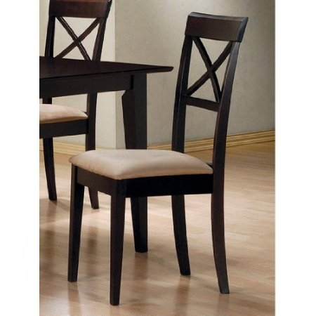 This Set of 2 - Cappuccino Cross Back Dining Chair with Fabric Seat would be a great addition to your home. It has a cappuccino finish and is made of solid wood.