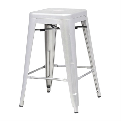 More than three quarters of a century later, this Indoor Outdoor Backless Stacking Counter Height Bar Stool in Gunmetal Galvanized Steel adopts a new look. A versatile stool that is comfortable and great for use in any location whether indoors or outdoors. Stools are stackable for easy storage.