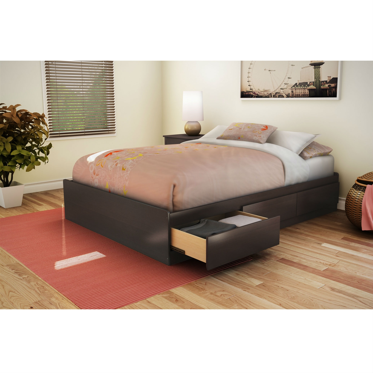 Full size Modern Storage Bed with 3 Drawers in Chocolate Finish, CSPBF27150 :  This Full size Modern Storage Bed with 3 Drawers in Chocolate Finish would be a great addition to your home. It is made of non-toxic materials and there is no box spring required.  Drawers opened easily without the need for handles thanks to the cut-out at bottom of the drawer fronts; Features 3 practical drawers (all on the same side); Supports up to maximum weight of 500lbs. No box spring required; Equipped with polymer glides include dampers and catches; Recycled CARB compliant laminated particle board construction; Bed Size: Full; Manufacturer provides 5 year warranty against furniture defects or workmanship; Number of Underbed Storage Drawers: 3; FSC Certified: Yes; Assembly Required: Yes. EPP Compliant: Yes; CPSIA or CPSC Compliant: Yes; CARB Compliant: Yes; Frame Material: Particle board; ISTA 3A Certified: Yes; General Conformity Certificate: Yes; Country of Manufacture: Canada; Eco-Friendly: Yes; Weight Capacity: 500lbs. Product Care: Wipe clean with dry cloth. Drawer Interior Height - Top to Bottom: 4.375 Inches; Drawer Interior Width - Side to Side: 22.625 Inches; Drawer Interior - Depth Front to Back: 18.5625 Inches.