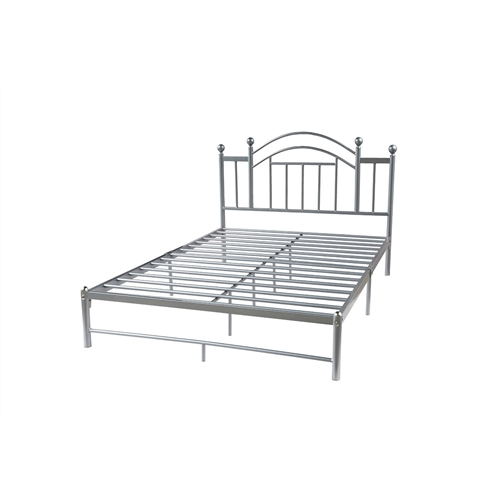 This Full-size Silver Metal Platform Bed Frame with Arched Headboard would be a great addition to your home. It is easy to clean and easy to assemble. Bed Type: Panel; Headboard Type: Slat; Frame Material: Metal; Headboard Included: Yes; Box Spring Required: No; Slats Included: Yes; Slats Required: Yes; Assembly Required: Yes; Bed Type: Panel Headboard Type: Slat.