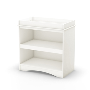 This White Wood Baby Furniture Changing Table with Open Storage Space has been designed with baby's safety in mind, and so parents have easy, close at hand access to baby care products. The two spacious open storage spaces will easily fit all necessary baby care products. For complete interior dimensions, see spec sheet. Also available in Royal Cherry or Espresso finish. It meets or exceeds all US Consumer Product Safety Commission Standards and conforms to ASTM standards as well (ASTM F2388). The weight of the child should not exceed 30 pounds.