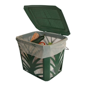 Green Kitchen Composting Bucket with Side Air-Flow Vents, BBCBKG1325 :  This Green Kitchen Composting Bucket with Side Air-Flow Vents is a small and convenient compost bucket ideal for the countertop or under the kitchen sink. The bucket is well ventilated to control odor and holds about a weeks worth of compost material.
