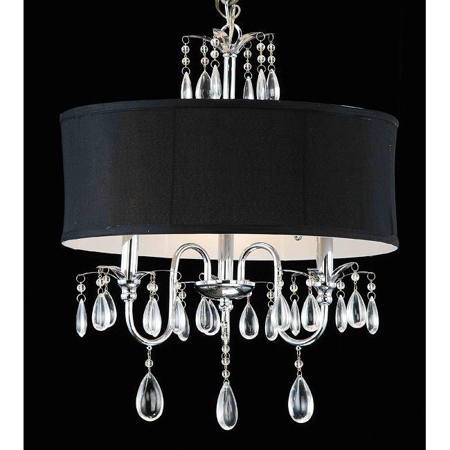Add style and sophistication to your living space with this Chrome 3-light Black Shade Crystal Chandelier. The fixture features a gorgeous black shade with sparkling crystals that catch the light. This fixture does need to be hard wired. Professional installation is recommended.