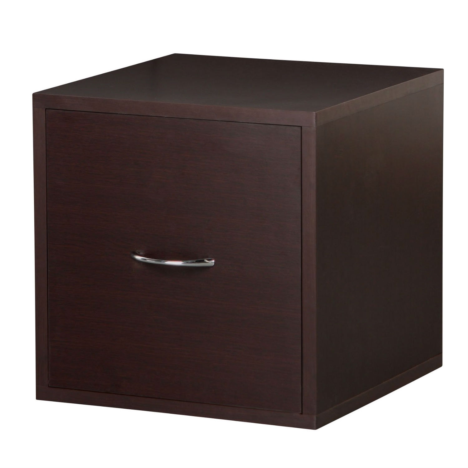 This Solid Wood Frame Modular File Cabinet Storage Cube in Espresso is practical and functional. Perfect for the home office. Holds letter size hanging files. Easy sliding drawer. Overall size 15-inch W by 15-inch D by 15-inch H. Frame is made out of solid wood, each panel finished with PVC laminate. Sturdy and stackable for maximum durability. Holds up to 200-pounds per assembled unit. Hollow-core construction makes the cube weigh 50-percent less then traditional particle board. Packed pre-finished, easy assembly and installation. Unlimited combination options so you can create exactly the system you need. Packed pre-finished, easy assembly and installation.