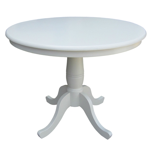 This Round 30-inch Dining Table In White Wood Finish and Pedestal Base elegantly enhances your dining area. This dining table features an intricately crafted pedestal base with four legs for optimum stability. It is a versatile enhancement for a traditional, rustic, or cottage style home decor. This table is suitable for both casual and formal settings. Made from solid wood, this dining table's solid construction provides years of functionality. This round shape table has a seating capacity of four people. It is available in numerous finishes. The Round 30-inch Dining Table In White Wood Finish and Pedestal Base requires assembly. This table is easy to care for and can be wiped with a clean and damp cloth. The table is solid wood, it is not scratch resistant nor stain resistant. We always recommend coasters, pot holders, if you spill something on it wipe it up immediately. The table is subject to weathering or fading over time if left in a room near a window for instance; Wipe with a dry cloth.