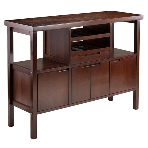 "This Sideboard Buffet Table Wine Rack in Brown Wood Finish provides classic elegance to your dining room. It features two wine racks hold up to 8 bottles and two side open shelves for plates or glasses. There is a drawer to storage your serving accessories. Two single and a middle double wood doors open to reveal three cabinets for additional space for your entertaining needs. Buffet table assembled size is 46""w x 16""d x 34""h. There is two open shelves with size of 12""w x 14""d x 12"" clearance for plates or decorations. Bottom section has three cabinets. Two side cabinet inside is 12""w x 13""d x 11.61""h. Middle cabinet is 16.54""w X 13""d x 11.61""h. It also has one pull out drawer with an inside dimension of 16.37""w X 11""d x 2.3""h. Made from combination of solid and composite wood in walnut finish. Assembly required."