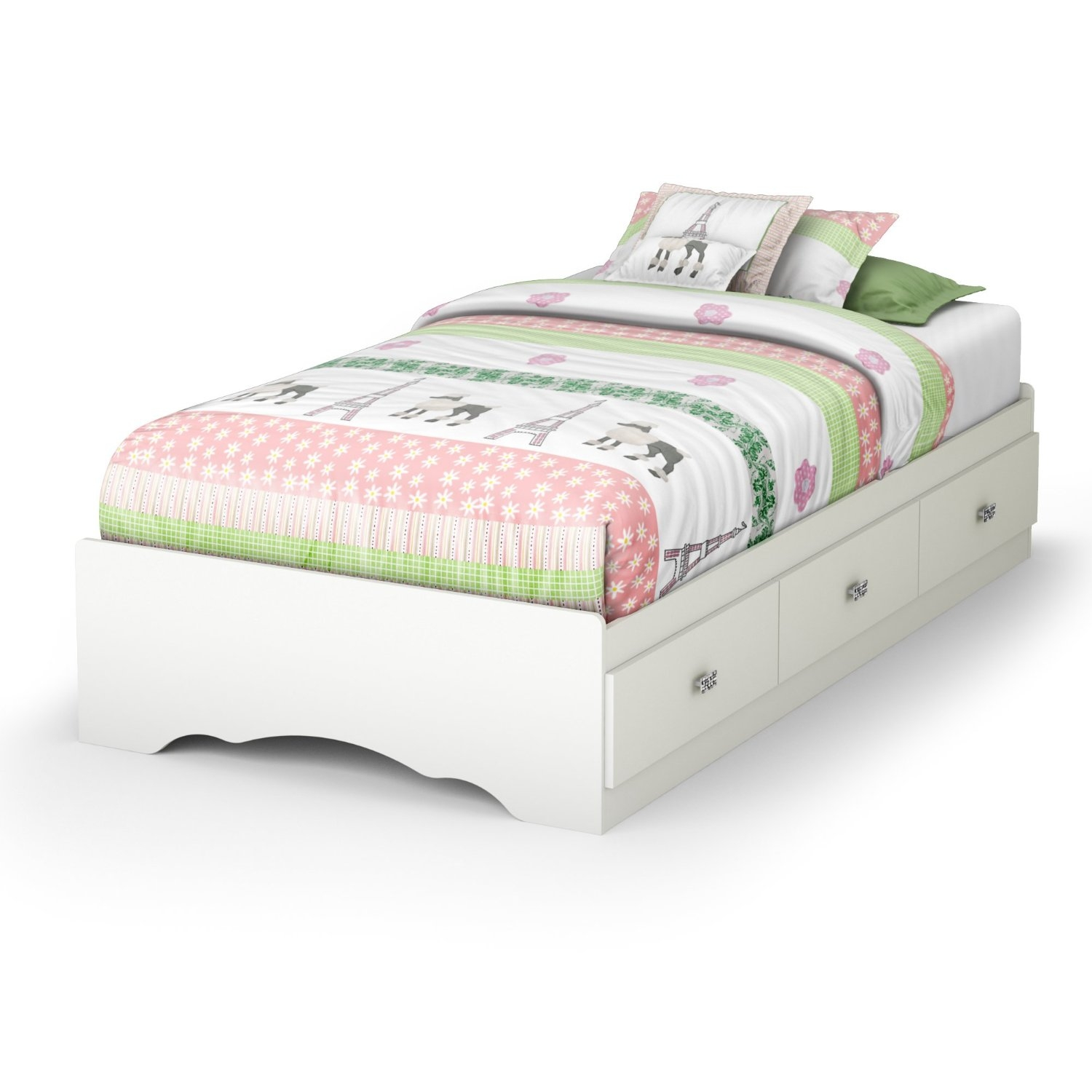 Twin size White Platform Bed Frame with 3 Storage Drawers, STCTMB17050 :  With its three drawers, this Twin size White Platform Bed Frame with 3 Storage Drawers is a great space-saving solution. Girls will love its jewel like chrome handles and decorative cut-outs. It can also be attached to the Tiara Twin 39-inch headboard for even more storage options. It is equipped with polymer glides that include dampers and catches for enhanced safety. Its weight capacity is 250-pound and no box spring is required. Bed is reversible therefore drawers can be placed on either side of the bed. The interior drawer dimensions are 22-1/2-inch wide by 17-3/4-inch front to back. It measures 76-1/4-inch long by 40-1/4-inch wide by 14-1/2-inch high. It is delivered in a box measuring 85-inch by 23-1/2-inch by 4-1/2-inch and weighs 126-pound. Made of non-toxic recycled CARB2 compliant laminated particle panels. Complete assembly required by 2 adults. Tools are not included. 5-year limited warranty. Made in Canada.