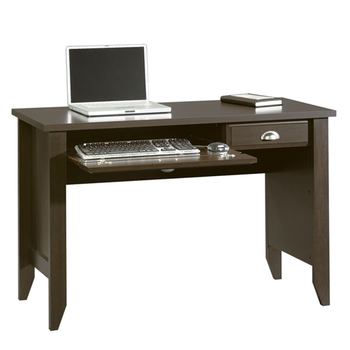 This Writing / Laptop Computer Desk is sure to resonate with traditional decorators, though its refined style is likely to attract diverse admirers. Durable laminate over engineered wood (MDF) construction is sealed in a rich dark brown mocha espresso finish and is complemented by nickel-plated hardware. A fold-down door conceals a pullout keyboard tray. A storage drawer helps reduce work surface clutter.