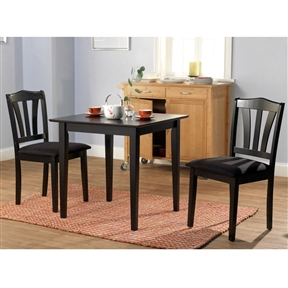 This 3 Piece Wood Dining Set With Square Table And 2 Chairs In Black Would