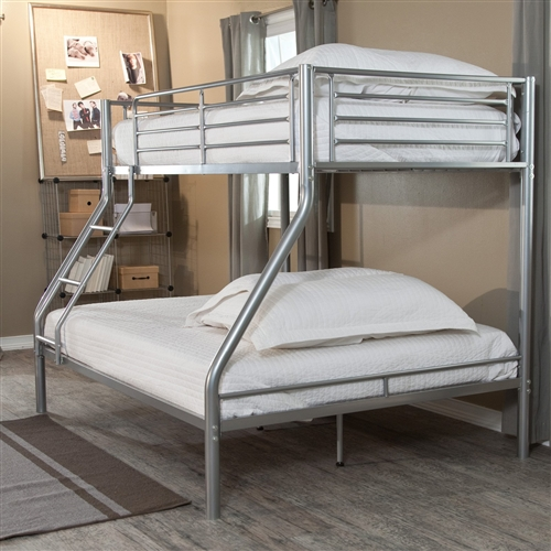 Yes, this Modern Twin over Full size Bunk Bed in Silver Metal Finish is perfect in a shared kids room, but think of its other applications. It can blend effortlessly into a one-kid room or even dorm room, too, where a tween, teen, or soon-to-be grad can sprawl out with homework or games on the spacious bottom bunk before crawling to sleep on the smaller top bunk.