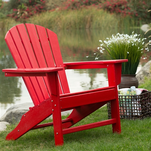 Outdoor Patio Seating Garden Adirondack Chair in Red Heavy Duty Resin, BLAWBD5814 :  You've seen these beauties at high-end outdoor stores, and now you can get the same look for less when you choose this Outdoor Patio Seating Garden Adirondack Chair in Red Heavy Duty Resin. We designed this chair to withstand season after season of the elements, without warping, fading, rusting, or splintering. That's because although it looks like it's made of wood, it's actually made from high density polyethylene, a plastic that's so sturdy it's practically maintenance-free. Just hose it off and enjoy it all year long. Stainless steel hardware ensures its durability as well. Plus, you'll love the true, deep colors that will never fade in the sun! This Adirondack chair will provide relaxing comfort for years to come. Classic Adirondack style;  Surface texture resembles cedar wood.
