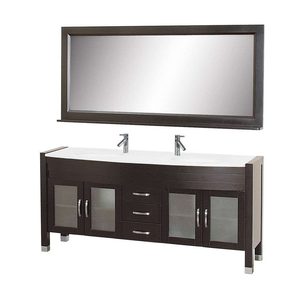 Contemporary Double Sink Bathroom Vanity Set in Espresso with White Top and Mirror, CBV139753 :  This Contemporary Double Sink Bathroom Vanity Set in Espresso with White Top and Mirror with countertop and integrated basins offers both modern, clean-lined sophistication and classic warmth. Vanity is made from solid oak wood, glass inserts add character and beauty to his and her cabinet doors, soft closing hardware so you will never have to hear a door slam again, and a rich espresso finish adds dimension. Ideal for any transitional or modern bathrooms. Ava Contemporary Vanity comes complete with matching mirror, and chrome faucets with pop-up drains. European sliders and soft closing doors; Brushed nickel hardware; Faucets are UCPC certified, Eco-friendly water sense, and AB1953 compliant; White finish; Features 4 doors and 3 drawers; Manufacturer provides one year warranty; Top Material: Glass; Mirror Included: Yes; Sink Material: Glass; Number of Sinks: 2.
