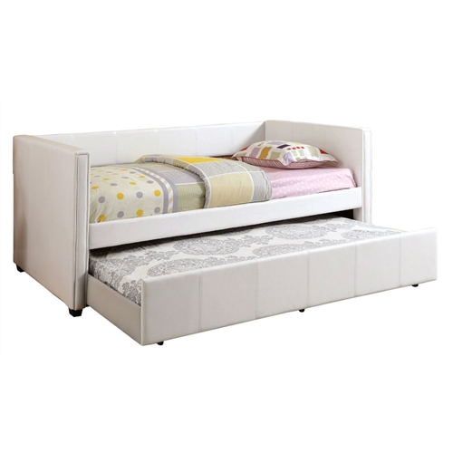 "Designed to create extra space in the bedroom or anywhere that needed additional sleeping space. This Twin White Faux Leather Upholstered Daybed with Trundle Bed combines the charm and strength of the compatibility of the classic daybed, with the modern appeal of a sleek, fully upholstered leatherette profile. Easy roll-out twin trundle included. The expertly crafted solid wood and wood veneers internal frames are reinforced with double dowels and corner blocks. Daybeds are mattress ready, utilizing European style slats foundation - slat kit included. Manufactured in China, Assembly Required. Available bed colors for your selections: Black and White. Overall Dimensions: 84.38""L x 43""W x 34.5""H. Matching case goods sold separately. Decor not included."