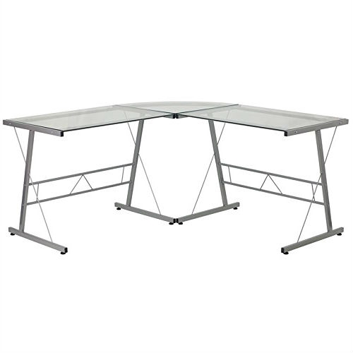 This Modern Silver Metal L-Shaped Desk with Glass Top and Floor Glides provides a perfect solution when needing a larger workspace. The glass top and silver frame provides a modern appeal. Investing in a desk for your home makes working from home or managing household bills and paperwork a nicer experience. The design of this desk is sure to complement any work space.