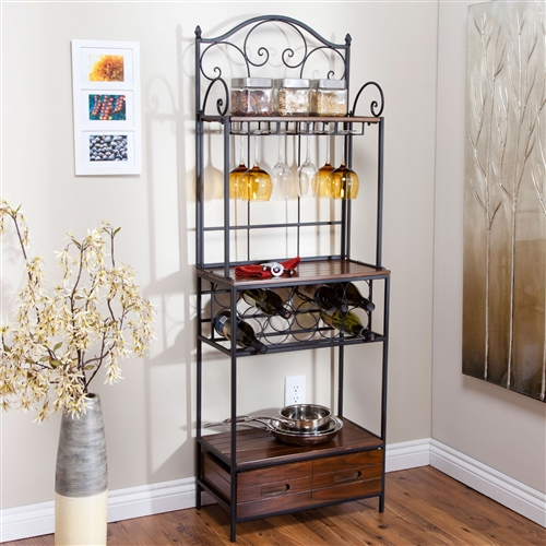You really don't need to be a baker to appreciate this Sturdy Metal and Wood Bakers Rack with Wine Glass and Bottle Storage, all you need is an eye for beauty. This rack's natural driftwood finish is sure to complement your home, and it's etagere style offers exceptional storage and function -- like storage room for wine glasses and 10 bottles. Metal frame construction. Single wood drawer in bottom for extra storage.