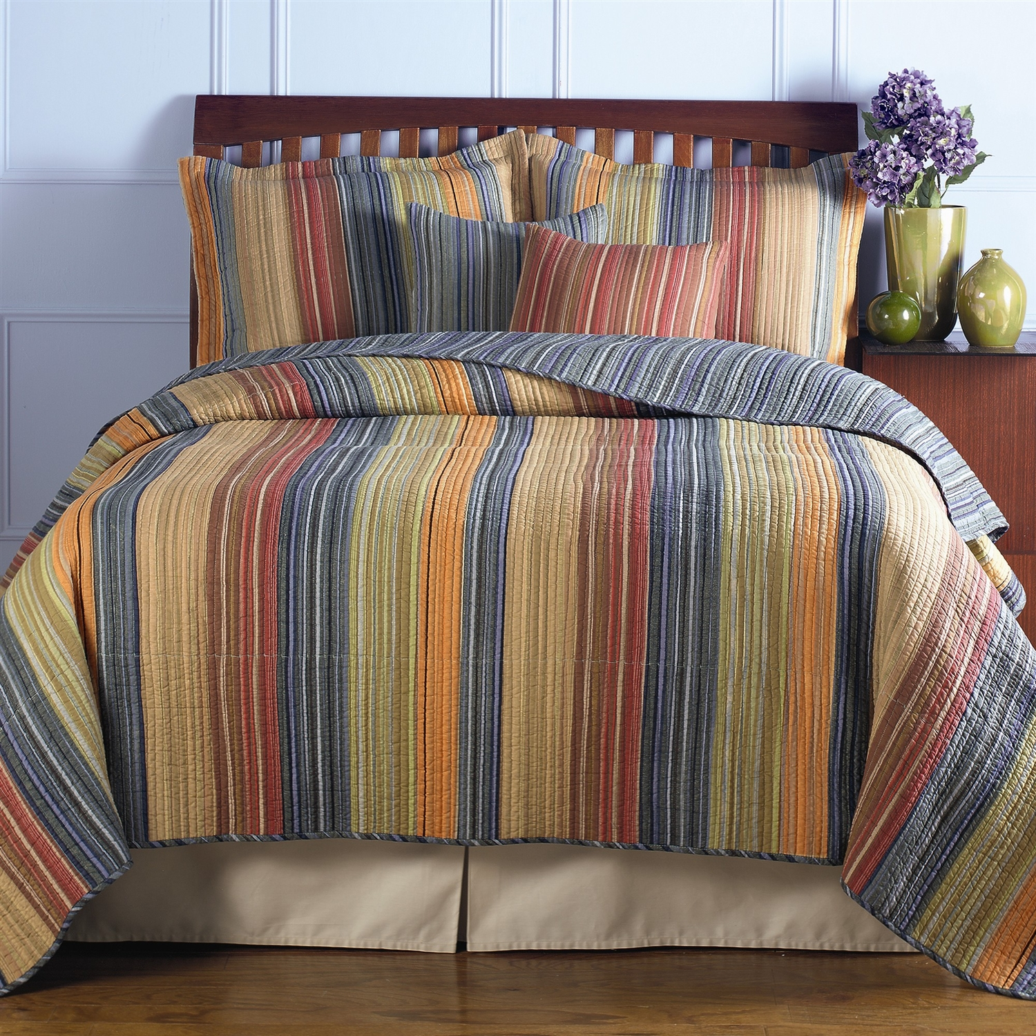 Full / Queen 100% Cotton Quilt Set with Red Orange Blue Brown Stripes: GHKBFQ89241 : This Full / Queen 100% Cotton Quilt Set with Red Orange Blue Brown Stripes would be a great addition to your home. It is machine washable and made of 100% cotton. Twin set includes 1 twin quilt, 1 sham and 2 decorative pillows; Full/Queen and King set includes 1 quilt, 2 shams and 2 decorative pillows; King set comes with 2 king-sized shams; Shell: 100% Cotton; Pillow filling: Spot clean; Oversized for better mattress coverage; Intensively quilted for style and durability; Reverses to a coordinating stripe; Channel quilting provides a rich surface texture; With a broad brushstroke of tasteful tones to compliment any bedroom theme; Chic and versatile with warm and cool colors; Product Type: Quilt/Coverlet set; Sham Material: Cotton; Reverse Side Material: Cotton.