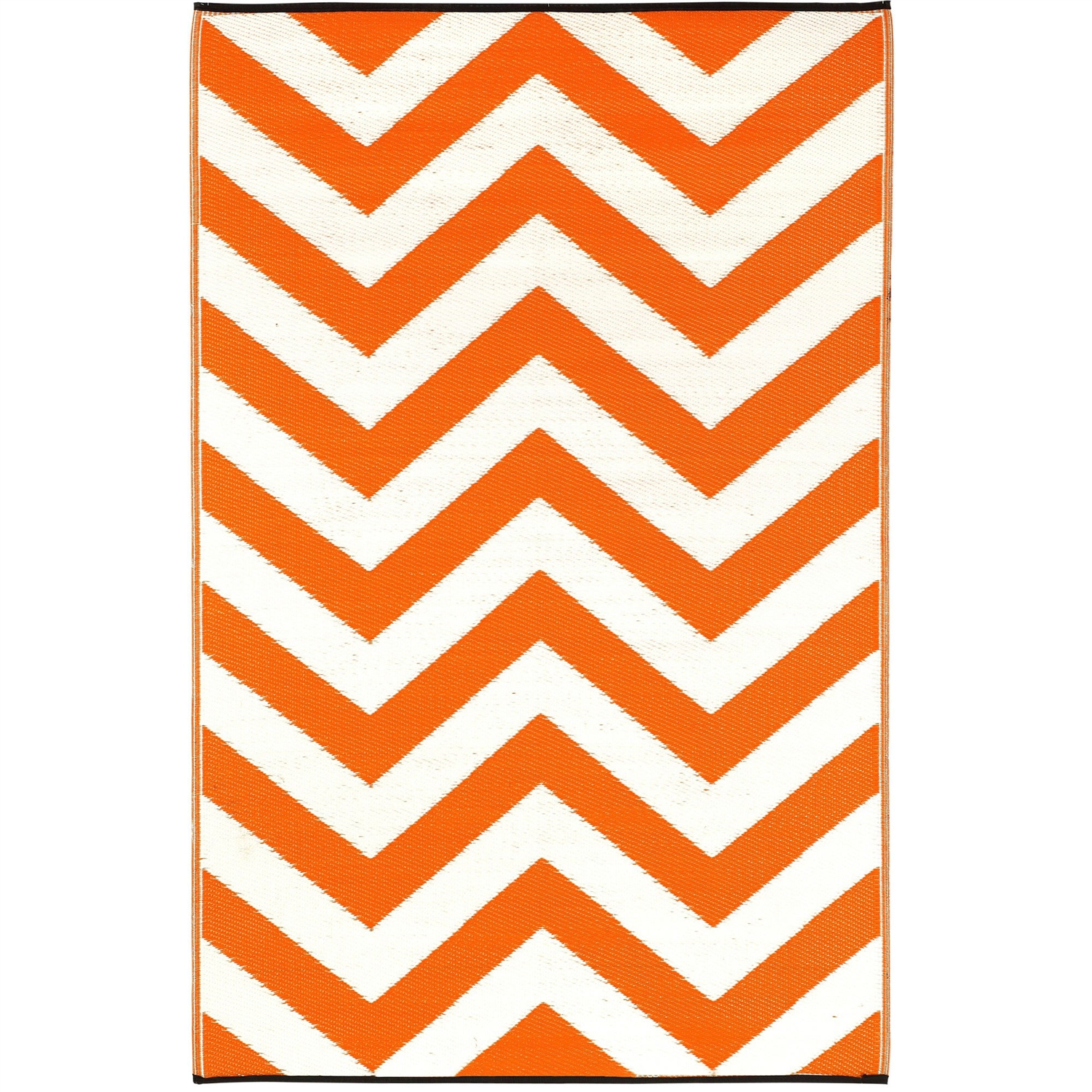 5' x 8' Indoor / Outdoor Area Rug with Orange White Chevron Pattern, LOPR85123 :  This 5' x 8' Indoor / Outdoor Area Rug with Orange White Chevron Pattern is made following the fair trade principles. Fab Rugs add a touch of elegance to your home décor. They are made using premium quality recycled plastic straws which are tightly woven together to offer strength, softness and beauty. Being plastic, moisture will have no effect on the mat and it will not attract mildew. Reversible; Lightweight; Comes with Eco-friendly jute bag; Reversible: Yes; Eco-Friendly: Yes; Country of Manufacture: India.
