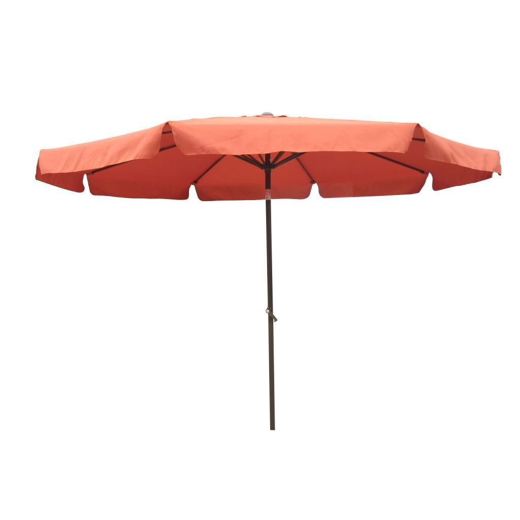 10-Foot Patio Umbrella with Waterproof Canopy - Terra Cotta, DPU10F7595 :    This 10-Foot Patio Umbrella with Waterproof Canopy - Terra Cotta would be a great addition to your home. It has an aluminum pole and waterproof canopy fabric. 8 rib canopy; Waterproof canopy fabric; Aluminum pole; Foldable and easy to move; Weather Resistant Details: Weatherproof polyester fabric; Umbrella Type: Drape; Pole Finish: Aluminum; Powder Coated Finish: Yes; Canopy Material: Polyester; Canopy Shape: Round; Pole Material: Aluminum; Weather Resistant: Yes; UV Resistant: Yes; Rust Resistant: Yes; Fade Resistant: Yes; Lift Method: Crank lift; Number of Canopy Ribs: 8; Tilt: Yes