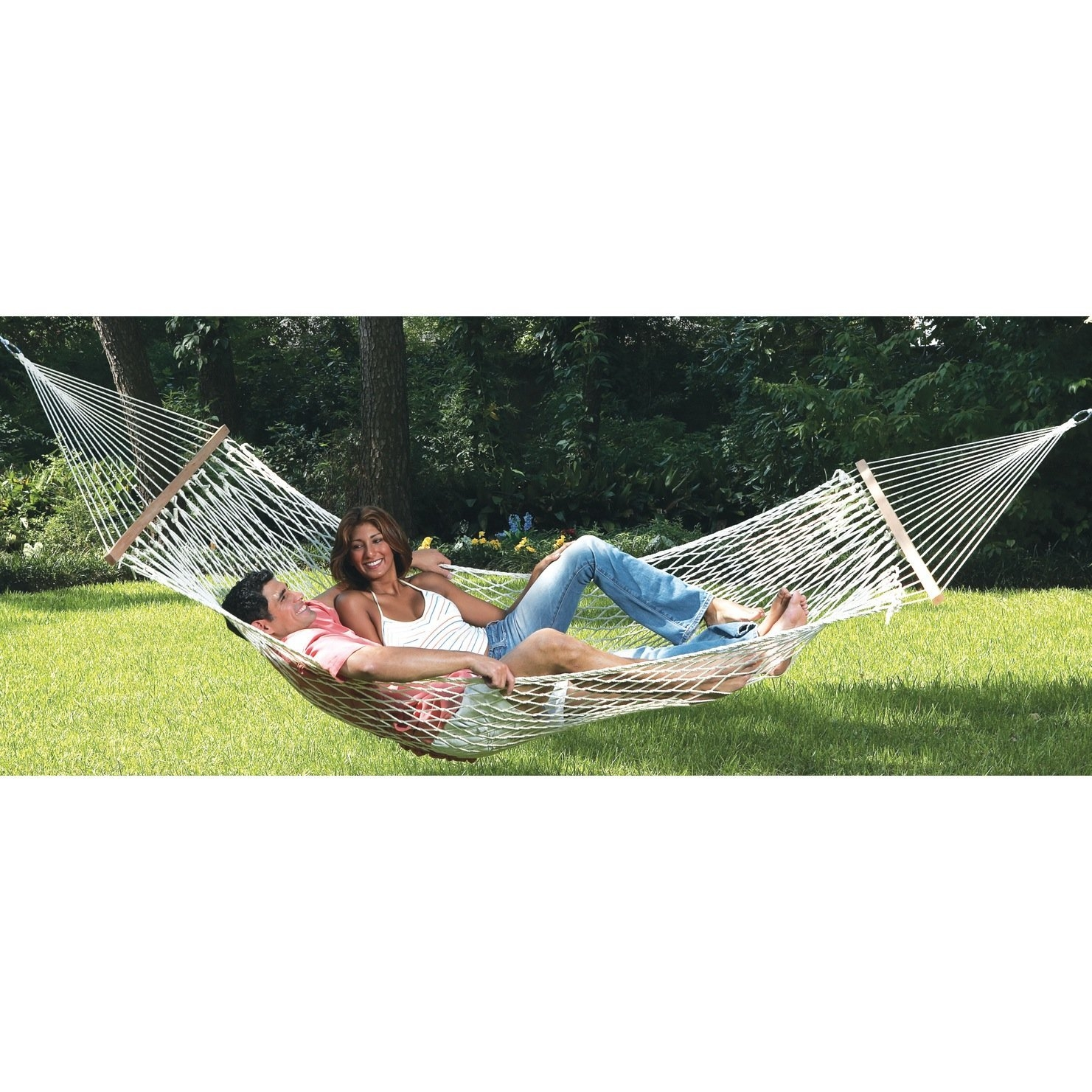 Comfortable Large Cotton Rope Hammock with Carry Bag, TSH4141 :  Large enough for two, this Comfortable Large Cotton Rope Hammock with Carry Bag bed made of cool, comfortable, large-diameter cotton ropes. French-braided edges contribute strength. Weight limit is 500 pounds. Other features include hardwood spreader bars and sturdy, welded suspension rings. Overall, the hammock measures 120 inches x 57 inches. It comes with a heavy-duty carry/storage bag with straps, full-length zipper, and information panel.