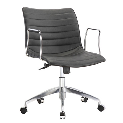 This Black Mid-Back Modern Mid-Century Style Comfortable Office Chair is a durable chair made for the modern office. These caster bases provide easy mobility. Its slim arm rests give you comfort for your arms while keeping the chair compact. Chair is height adjustable making it fit just right for you.