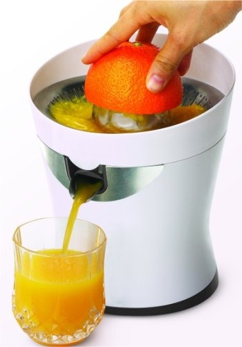 This Citristar Electric Citrus Orange Lemon Lime Grapefruit Juicer features Specifications Citrus Juicer - CitriStar Juicer by Tribest The CitriStar Citrus juicer by Tribest is a quiet, powerful and easy to use citrus juicer! All it takes is to slice the citrus piece in half and start juicing. The stainless steel screen catches all the seeds and the juice flows nicely down a stainless steel spout directly into your juice cup or pitcher. Juicing citrus is great for your health. Grapefruit has power effects on the liver and can promote weight loss. Citrus fruits contain super high volumes of vitamin C, potassium and other vital nutrients that can reduce the risk of heart diseases, high blood pressure, stroke and even some forms of cancer. Features: UP to 85 watt motor for quiet operation and maximum juice extraction Super durable Stainless steel spout - juice pours directly in your glass or pitcher. Locking mechanisms on spout prevents dripping Universal Ream - allowing extraction from the smallest citrus fruits like limes to the largest like grapefruits Quality Stainless Steel Parts - the fine screen prevents clogging and is easy to clean Sloped juice collector maxes juice flow effortless and quick - no clogging! Auto Start/Stop - easy touch operation Cord Storage 1 Year Warranty Specifications: Model CITRISTAR Weight.