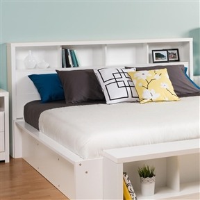 Inspired by chic cosmopolitan design, this King size Bookcase Headboard with Storage Shelves in White blends modern lines and elegant details. The headboard features a bold thick top, functional storage and pure white laminate finish. This free-standing headboard works well with a variety of double/queen size bed frames and decorating styles. Constructed from CARB-compliant composite wood.