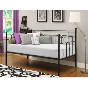Twin size Black Metal Daybed with Chrome Detailing, TMDB1684156 :    Beautifully crafted with a sturdy frame, Twin size Black Metal Daybed with Chrome Detailing features curved stylish lines with simple styling. This lightweight unit is great for small spaces.